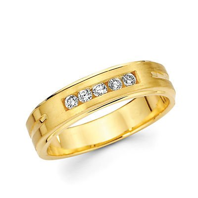 Size- 6 - 14k Yellow Gold Mens Diamond Wedding Ring Band .21ct (G-H Color, I1 (0.21 Ct Color)