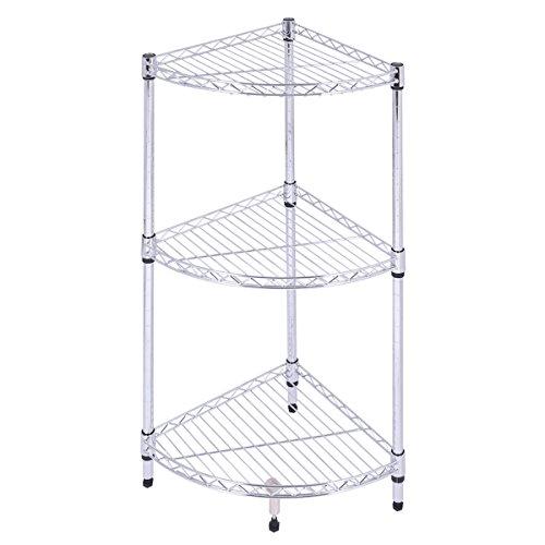 [3 Layer Sector Shelf Storage Rack Furniture Bathroom Kitchen Organizer Steel] (Costumes Braces)