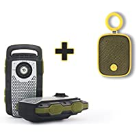 TWO PACK - 2 WAY RADIO WALKIE TALKIE AND BLUETOOTH SPEAKER WITH HANDS FREE CALLING + BONUS DREAMWAVE BUBBLE POD MINI SPEAKER (Yellow)
