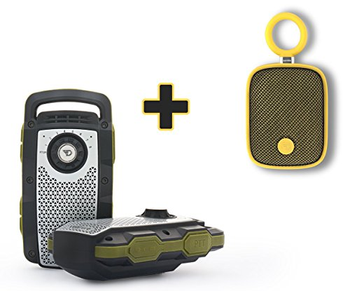 Transportable Sound System (TWO PACK - 2 WAY RADIO WALKIE TALKIE AND BLUETOOTH SPEAKER WITH HANDS FREE CALLING + BONUS DREAMWAVE BUBBLE POD MINI SPEAKER (Yellow))