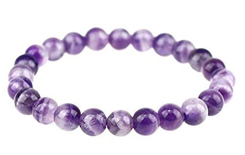 Natural Amethyst Gemstone Bracelet 7 inch Stretchy Chakra Gems Stones Healing Crystal Great Gifts (Unisex) GB8-16