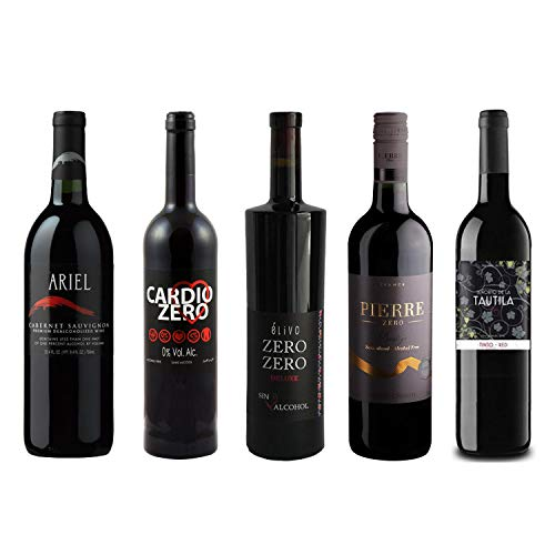 Red Wine Sampler - Five (5) Non-Alcoholic Wines 750ml Each - Featuring Ariel Cabernet Sauvignon, Cardio Zero Red, Rosso Dry, Prestige Merlot Rouge, and Tautila Tinto