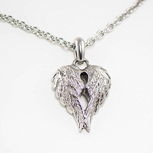 Stainless Steel Companion Cremation Necklace - Holds 1 Cubic Inch of Ashes - Silver Angel (Companion Necklace)