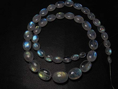 Jewel Beads Gems-Jewellery Awesome - AAAA - High Quality So Gorgeous - Rainbow MOONSTONE - Smooth Oval Briolett Blue Fire size 6-11 mm - 14 Inches