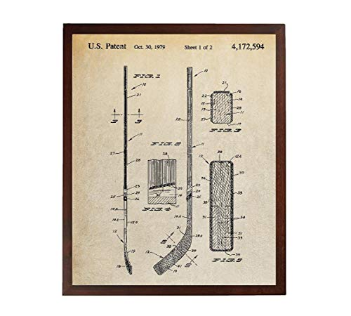 Turnip Designs Hockey Stick Patent Print Ice Hockey Gifts Hockey Room Decor Hockey Player NHL Ice Hockey Poster - Design Hockey Stick