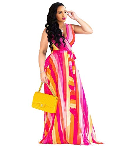 Dora's Womens Chiffon Deep V-Neck Printed Floral Maxi Dress Unique Loose Summer Boho Dresses High Waisted ()