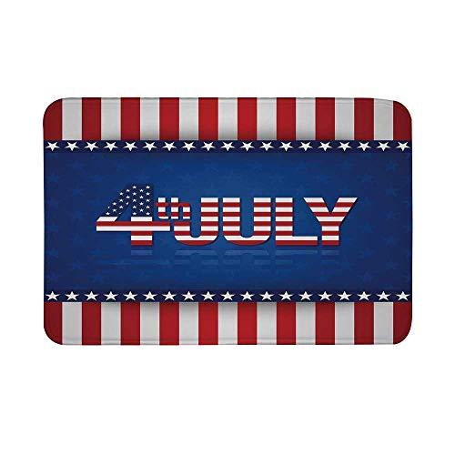 (TecBillion 4th of July Decor Non Slip Door Mat,Grunge Silhouette of Statue of Liberty Famous Landmark Retro Print Floor Mat for Bathroom Living Room,23