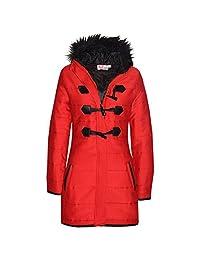 Kids Coat Girls Fleece Padded Parka Jacket Long Faux Fur Hooded Coats 7-13 Years