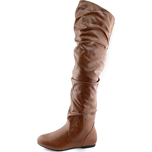 DailyShoes Women's Fashion-Hi Over-the-Knee Thigh High Flat Slouchly Shaft Low Heel Boots Tan Pu