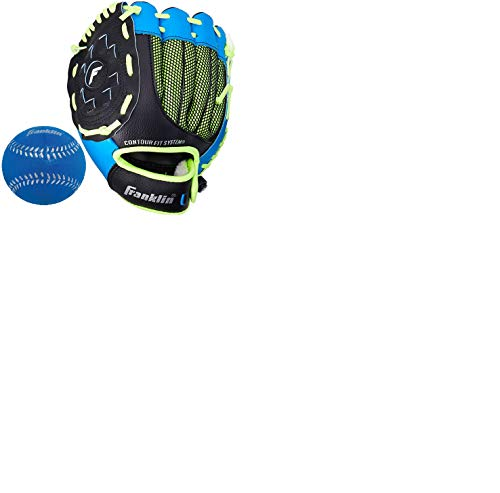 Franklin Sports Teeball Glove - Left and Right Handed Youth Fielding Glove - Neo-Grip - Synthetic Leather Baseball Glove - 9.0 Inch Left Hand Throw - Ready To Play Glove - Blue