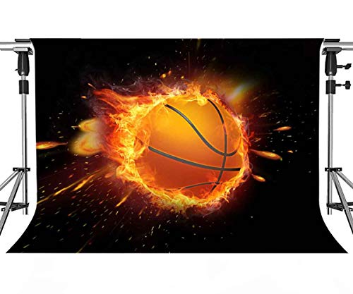 MEETSIOY Passion Basketball Backdrop for Photography Intense Basketball Game Basketball Flame Background NBA Themed Party Backdrop Photo Booth Studio Props 7x5ft PMT346]()