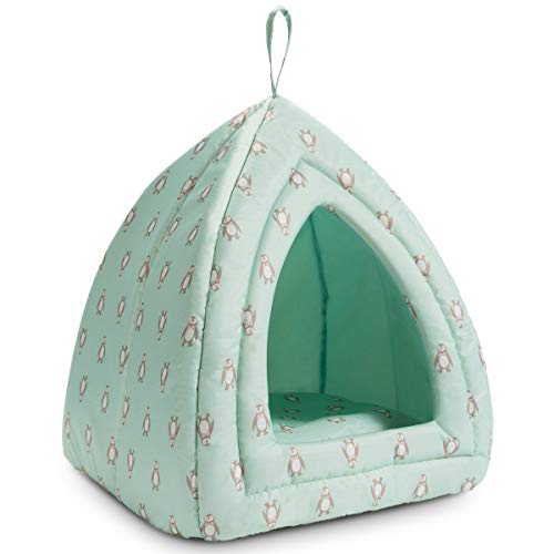 Hollypet Self-Cooling Pet Bed for Cats Rabbits 2 in 1 Comfortable Triangle Nest Tent House for Summer, Penguin