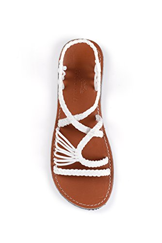 Natural and Co. Hand-Woven Rope Sandals For Women River (11, Plain White Sepia