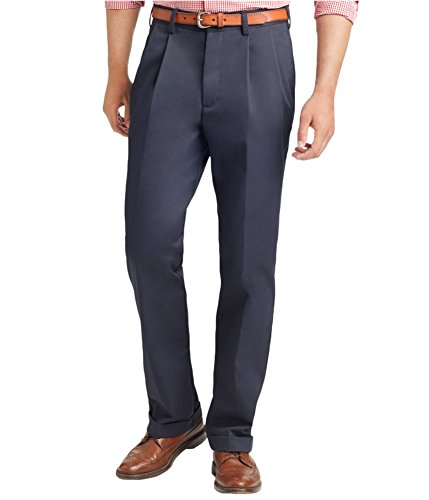 IZOD Men's American Chino Pleated Pant, Navy, 36W x (Cotton Dress Chino)
