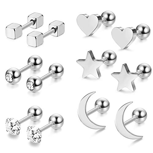 LOYALLOOK 3 Pairs Stainless Steel Moon Star and heart Plain Stud Earrings for Women and Girls (Style E:6 Pairs Silver Tone)