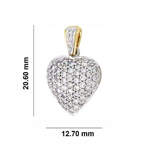 Libertini Pendentif argent 925 plaque or Jaune serti de Diamant en forme de Coeur