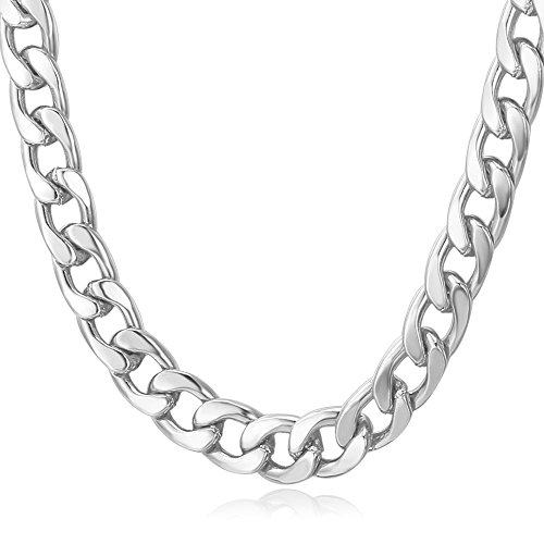 (U7 Men Cuban Chain Necklace Trendy Street Hip Hop Style Thick 7MM Wide Platinum Plated Curb Chain - 30 Inch)