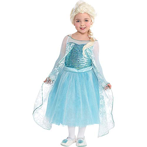 Costumes USA Frozen Elsa Costume Premier for Girls, Size 3-4T, Includes a Sequined Blue Dress with an Attached Cape -