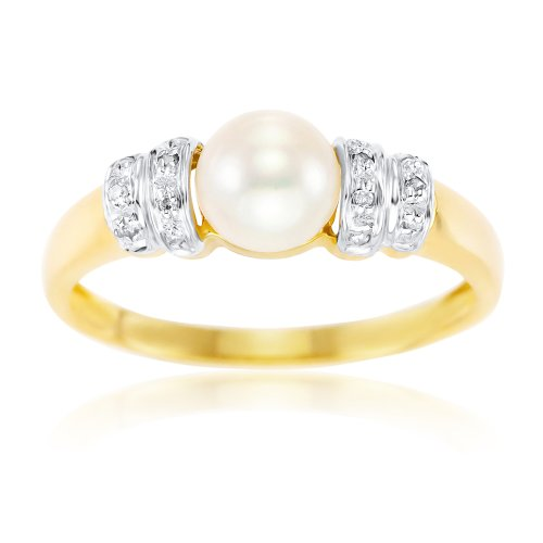 Kareco 9ct Yellow Gold Diamond And Round Pearl Ring - Size M
