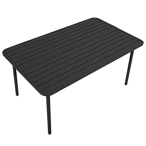 MF STUDIO 59″ x 35″x28″ Outdoor Dining Table Rectangle Patio Bistro Table Powder-Coated Steel Frame Home Metal Table Stand Deck Outdoor Furniture Garden Table, Black
