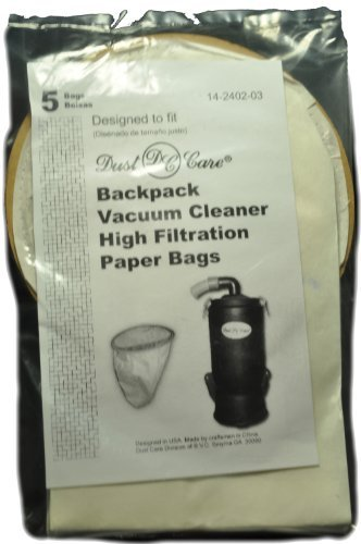 Dust Care Backpack Disposable Paper Bags, Dust Care Brand, 5 bags in pack