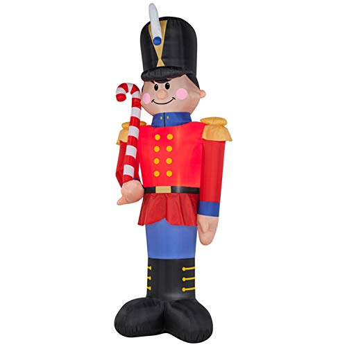 6 Foot Christmas Inflatables Nutcracker Toy Soldier Carrying a Candy Cane, Airblown Inflatable Soldier Decor, All Weather LED Lighted for Home Outdoor Yard Lawn Garden Porch Decoration -