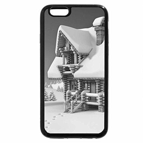 iPhone 6S Plus Case, iPhone 6 Plus Case (Black & White) - Paintings-A wooden chalet in middle of nowhere