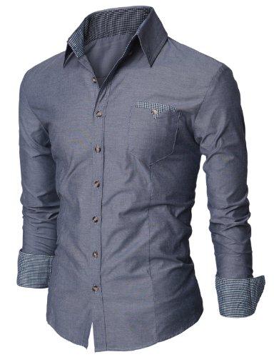Doublju Mens Dress Shirt with Contrast Neck Band NAVY 2XL(US-XL)