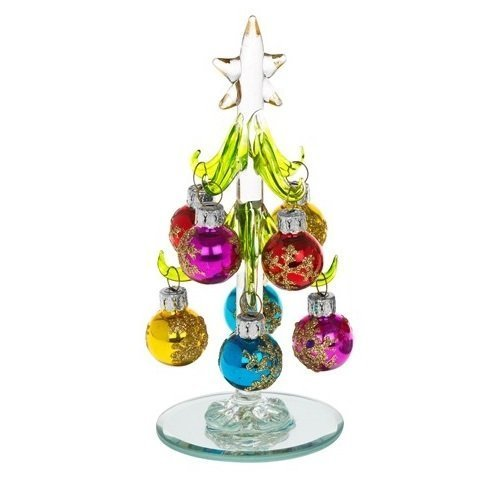Beautiful, small, glass Christmas Tree, decorated with coloured, glittered baubles. An ideal, fun, Christmas gift or decoration for the home, or desk top (1230C). Shudehill for Fitting Gifts.