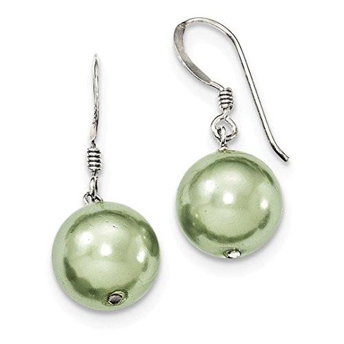 925 Sterling Silver Green Simulated Pearl Drop Dangle Chandelier Earrings Fine Jewelry For Women Gift Set - Faux Baroque Pearl Earrings