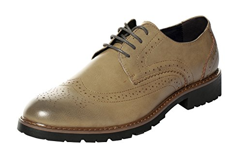 Serene Mens Leather Classic Dress Brogue Lace Up Low Top Wingtip Oxford Shoes (9, (Walker Plain Toe Oxford)