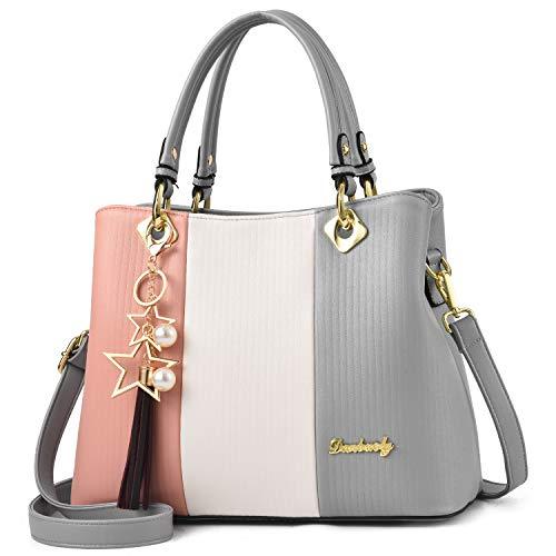 Design Satchel Handbag - BAG WIZARD Women Handbags Three-colors Assorted Design Top Handle Satchel Shoulder Bag Pu Leather Tote Purse Bags (Grey)
