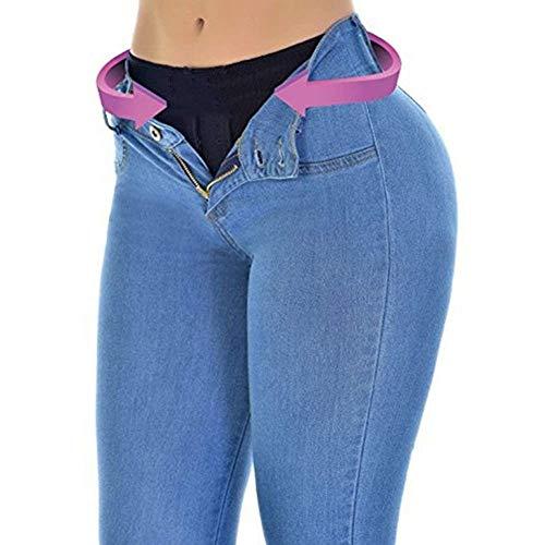 Color Acogedores Mezclilla Hellblau Con Stretch Para Vaqueros Bolsillos Ajustados De Moda Elástico Pantalones Mujer Lápiz Sólido 6qwvxZ