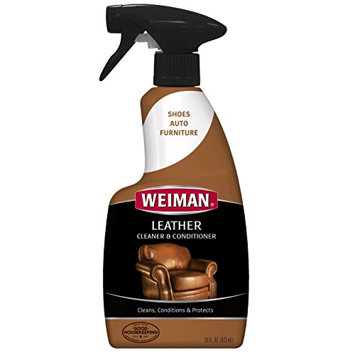 - Weiman Leather Cleaner and Conditioner - 16 Ounce - Use On Finished Leather in Car Interior Shoe Boots Briefcase Handbags Jackets and Luggage