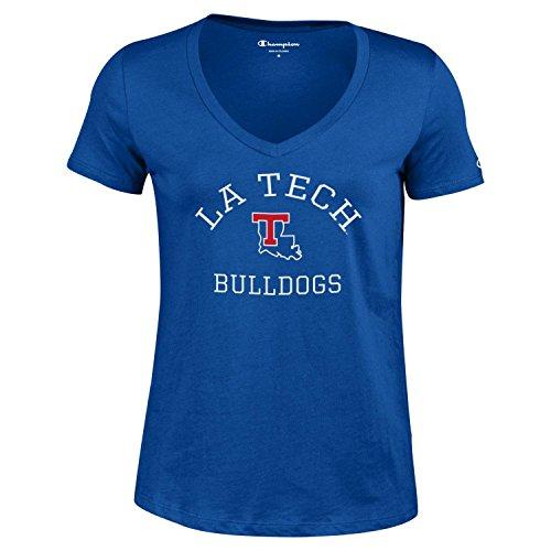 (NCAA Champion Women's University Short Sleeve V-Neck T-Shirt Louisiana Tech Bulldogs Small)