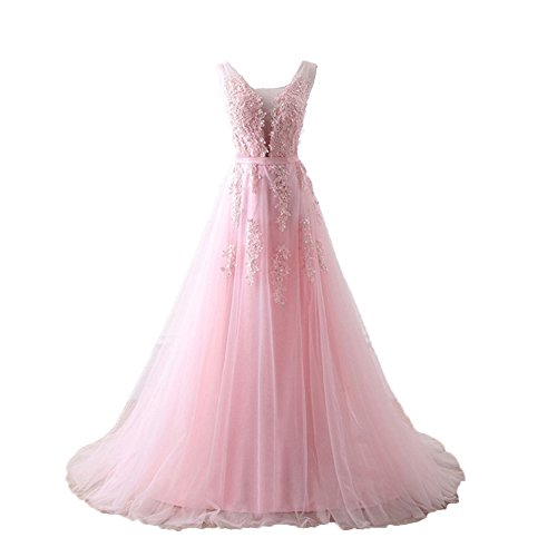 Long Prom Dress V Neck Applique Lace up A Line Maxi Gowns for Cocktail Party Pink,Size 16W ()