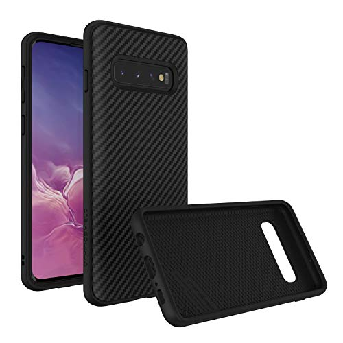 Fiber Galaxy Carbon - RhinoShield Case for Samsung Galaxy S10 [SolidSuit] | Shock Absorbent Slim Design Protective Cover - Compatible w/Wireless Charging [3.5M/11ft Drop Protection] - Carbon Fiber Texture