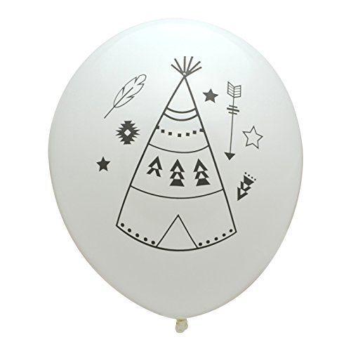 Teepee Balloons, Latex Party Balloons with Gray Teepee and Tribal Motifs for Boho or Tribal Themed Birthday or Baby Shower, Made in America by REVEL & Co