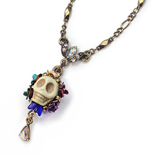 Sweet Romance Ivory Sugar Skull Pendant Necklace - Day of the Dead Mexican Jewelry