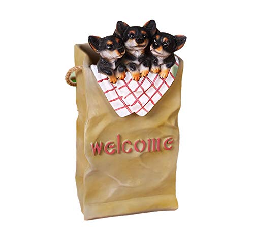 QXX-umbrella stand Home Floor Entrance Corridor Chihuahua Storage Bucket Dog Decoration 16.1x7.9x6.7in (Color : Black Chihuahua)