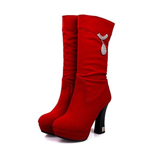 AllhqFashion Mujeres Puntera Redonda Caña Media Tacón Alto Sólido Gamuza(Imitado) Botas Rojo