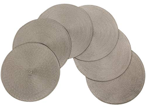 (v Vienna Woven Spiral Table Placemats 15 Inches Round Set of 6 Non-Slip Dining & Kitchen Table Mats Stone)