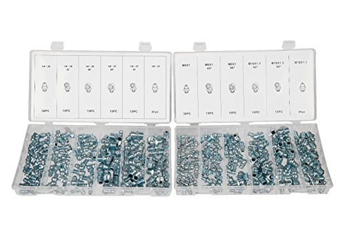 SAE & MM Hydraulic Grease Fitting Kit, 220 Piece Straight and Angled | 1/4