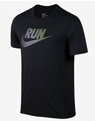 Nike Men's Black Dri-Fit Cotton RUN Swoosh Short Sleeve T-Shirt (X-Large)