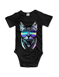 1cat ALL SALE Funny Vintage Unisex Night Cat Dj Baby Clothes Baby Boy and Girl