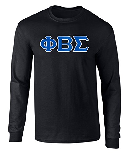 Fashion Greek Phi Beta Sigma Twill Letter Long Sleeve Tee Black XXL