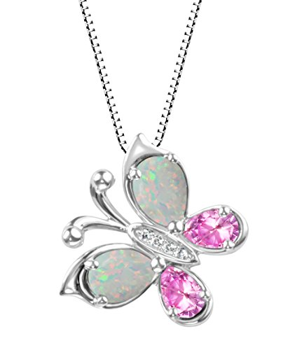 Sterling Silver 925 Created Pink Sapphire and Created Opal Butterfly Pendant Necklace, 18