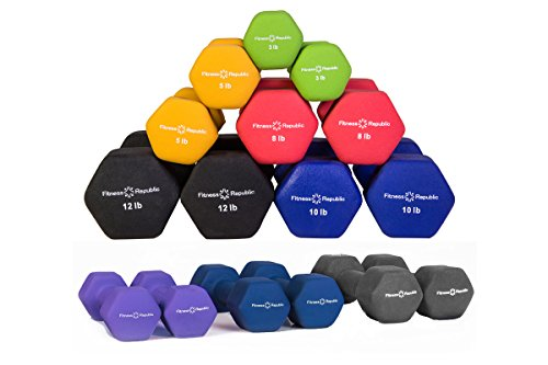 Fitness Republic Neoprene Dumbbell Pairs (8 Dumbbells Set) 3lb,5lb,8lb,10lb,12lb,15lb,17.5lb,20lb