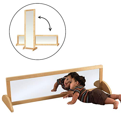 ECR4Kids Double-Sided Shatterproof Bi-Directional Birch Frame Full-Length Floor Mirror for Babies, Toddlers and Kids - Preschool, Daycare or Home - 4 Feet Tall, Natural