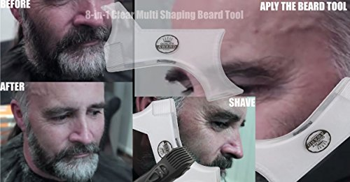 Beard Shaping Tool Template + Bonus Comb & Barber Tracing Pencil. Transparent Trimming Guide & Shaving Shaper compatible with any Beard Razor Electric Trimmers Clippers. Mustache, Goatee, Sideburns,